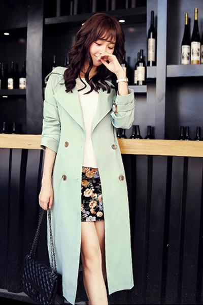 Solid Color Long Sleeves Lapel Belt Double Breasted Slim Long Coat