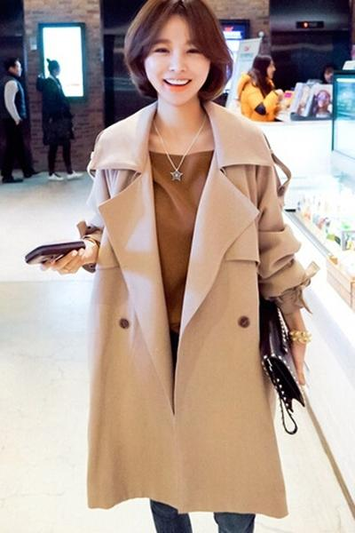 Lapel Collar Strap Belt Bowknot Loose Long Coat