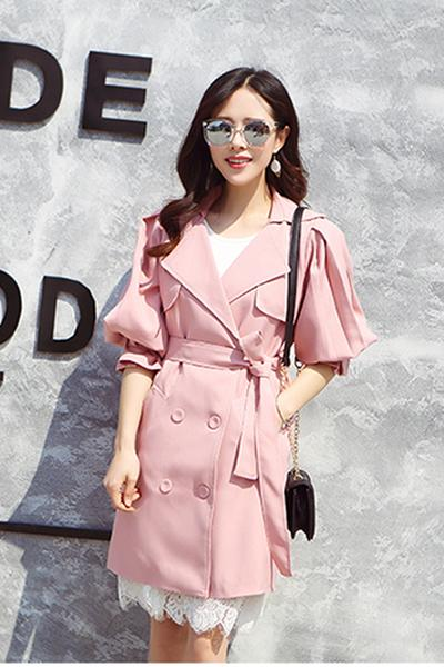 Pure Color Long Sleeves Lapel Belt Slim Long Coat