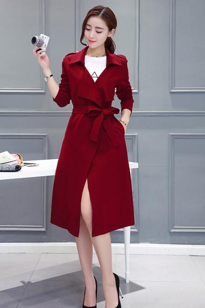 Candy Color V-neck Belt Bowknot Long Slim Coat