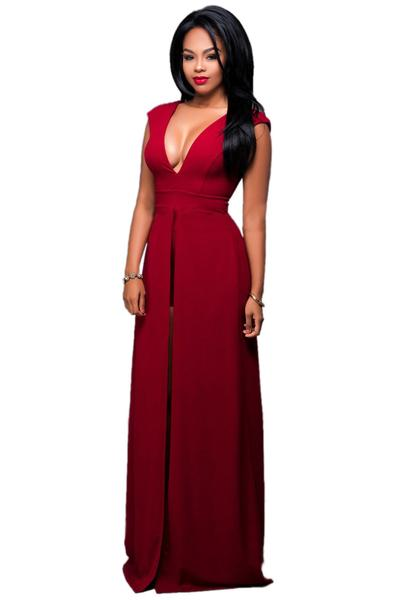 Deep V-neck Solid Color Split Irregular Jumpsuit Dress