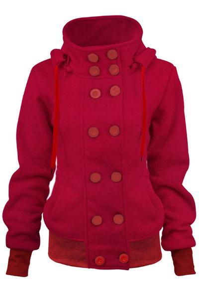 Double Breasted Drawstring Buttons Slim Regular Hooded Coat