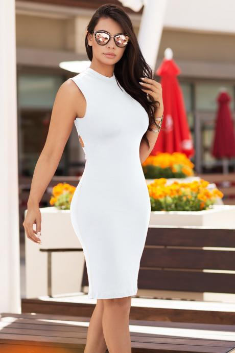Solid Color Back Cross Knee-length Bodycon Dress