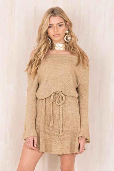 Off Shoulder Knitwear Long Trumpet Sleeves Loose Short Dress