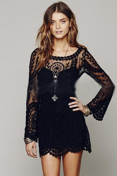 Lace Long Trumpet Sleeves Transparent Short Dress