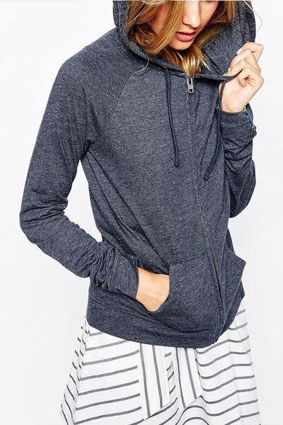 Solid Color Zipper Pockets Sports Hoodie