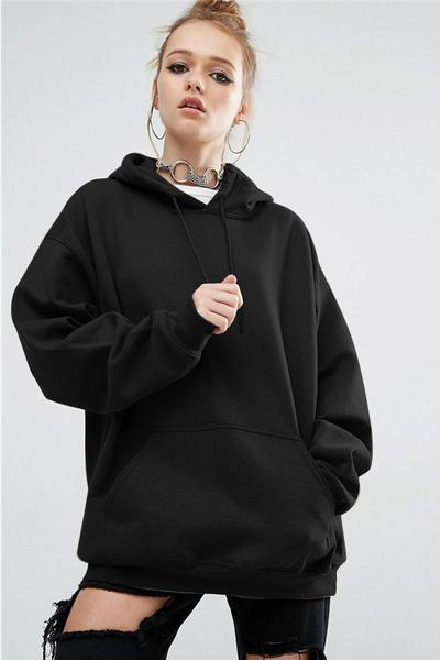 Oversize Hoodie Featuring Long Cuffed Sleeves and Front Pocket