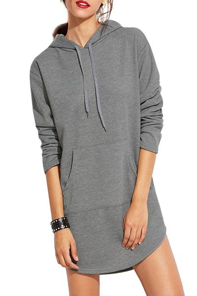 Grey Long Sleeves Short Hoodie Dress Featuring High Low Hem and Front Pocket