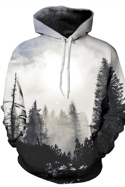 3D Trees Print Drawstring Pocket Sports Hoodie