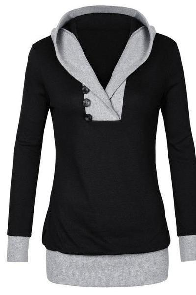 Buttons V-neck Patchwork Long Slim Hoodie