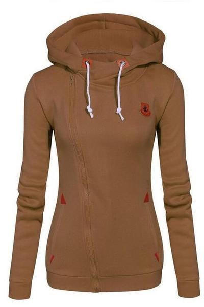 Side Zipper High Neck Drawstring Candy Color Slim Hoodie