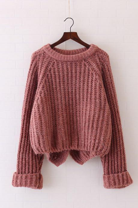 Pure Color Long Sleeves Irregular Loose Sweater