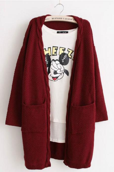 Solid Color Pockets Cable Knit Loose Cardigan