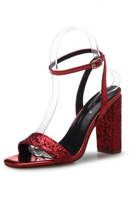 Square Open-Toe Sequinned Ankle Strap Chunky Heels