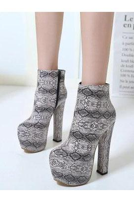 PU Zipper Chunky Heel Round Toe High Heels
