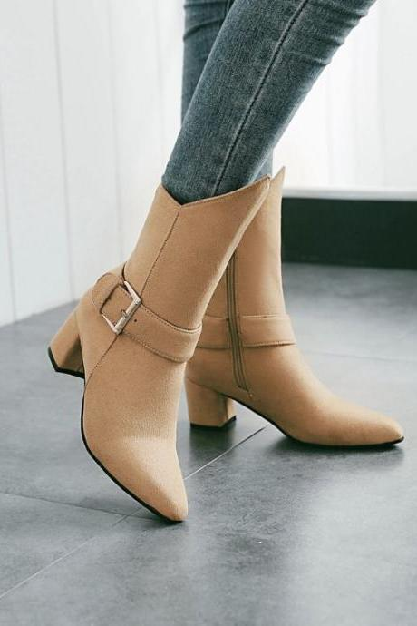 Suede Pure color Chunky Heel Pionted Toe High Heels