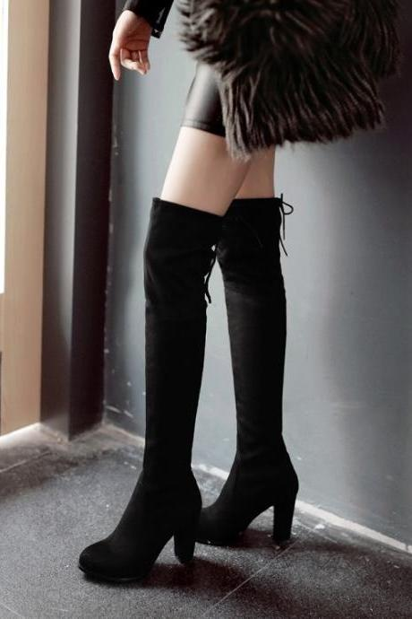 Suede Pure Color Chunky Heel Round Toe Long Boots