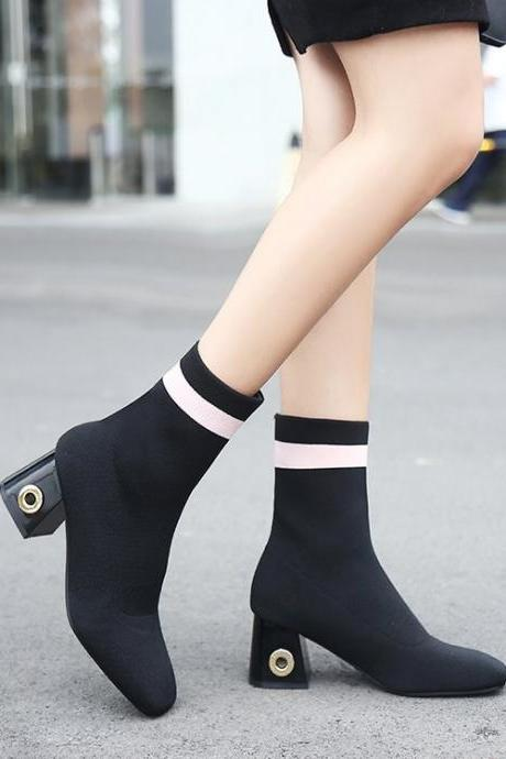 Suede Round Toe Pure Color Chunky Heel Short Boots
