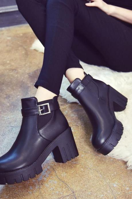 PU Pure Color Chunky Heel Round Toe Platform Boots