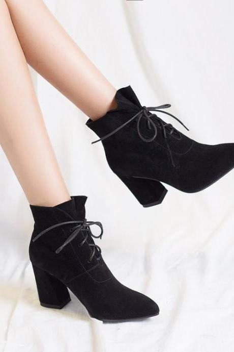 PU Pure Color Chunky Heel Pionted Toe Lace-up High Heels