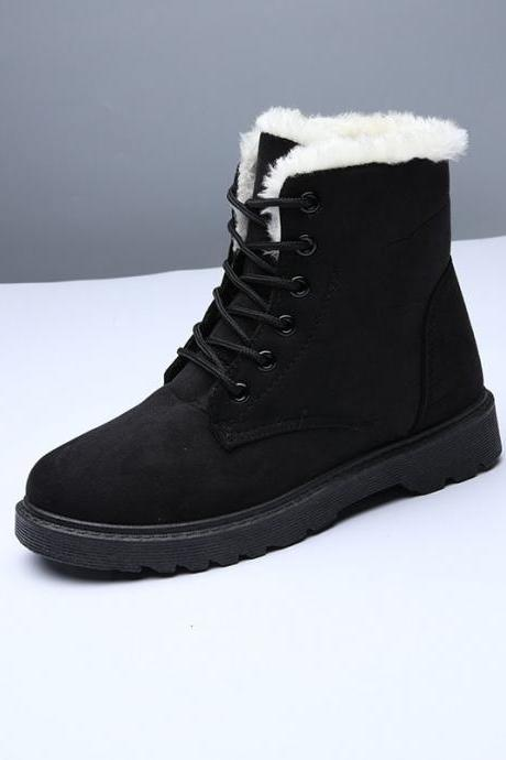 Pure Color Chunky Heel Suede Round Toe Lace-up Short Boots