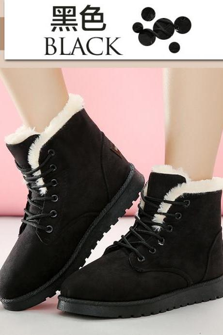 Suede Pure Color Flat Round Toe Lace-up Short Boots