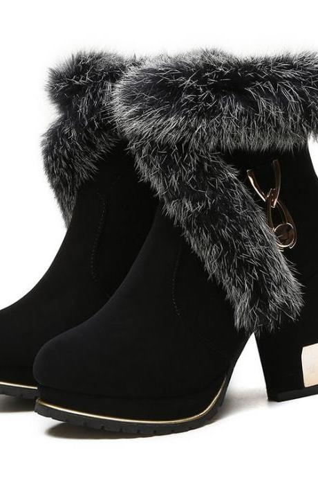 Chunky Heel Suede Pure color Pointed Toe High Heels