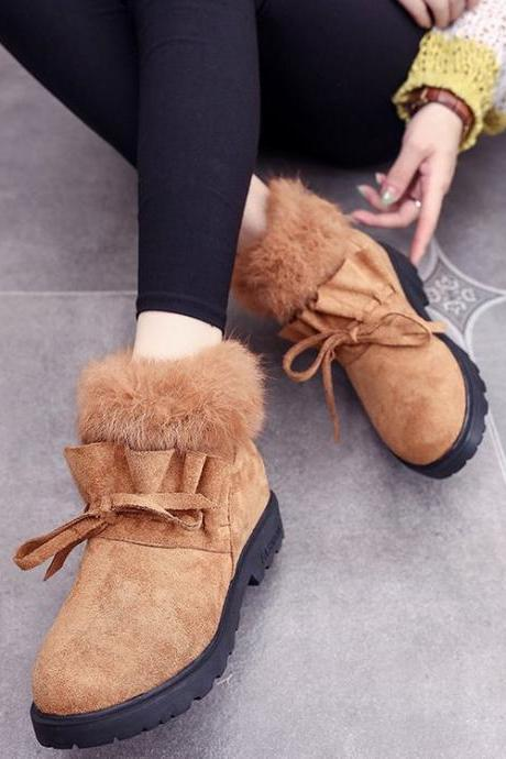 Suede Pure color Pointed Toe Boots