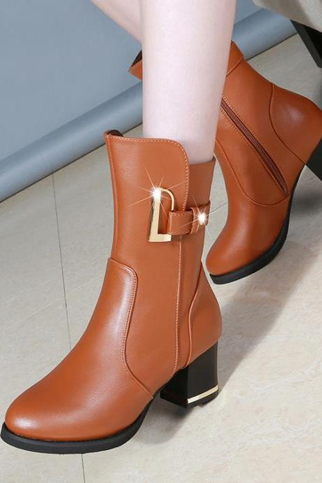 PU Pure Color Round Toe Chunky Heel Platform Boots