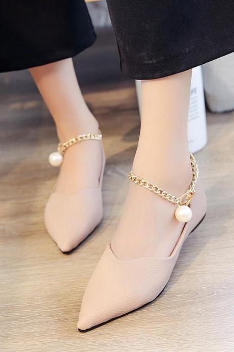 Faux Leather Pointed-Toe Flats Featuring Gold Ankle Chain with Pearl Embellishment