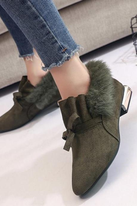 Army Green Faux Fur Pointed Toe Oxford Flats