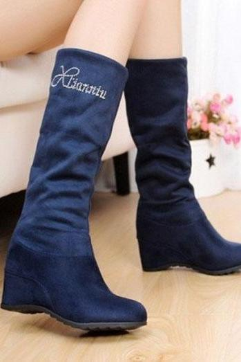 Cloth Pure Color Slope Heel Round Toe Short Boots