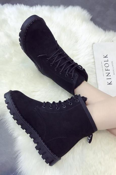 Suede Pure color Lace-Up Round Toe Boots
