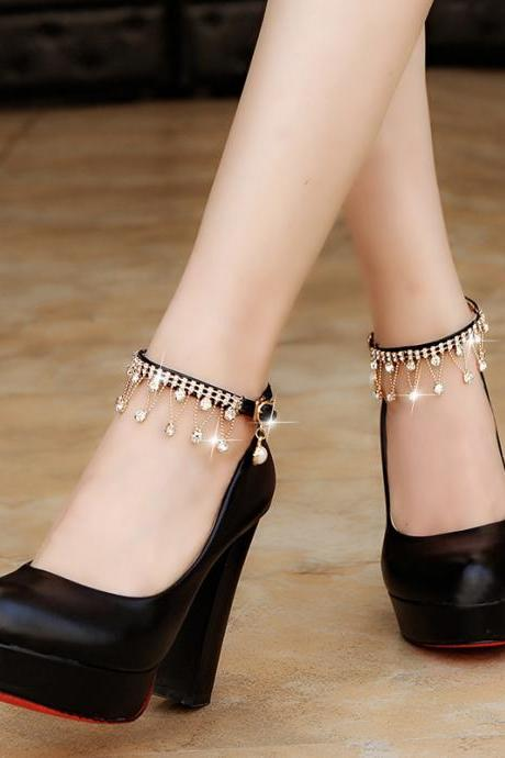 PU Pure color Metal Chunky Heel Round Toe High Heels