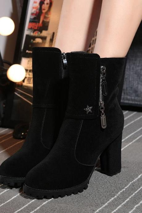 Suede Pure color Zipper Chunky Heel Round Toe Boots