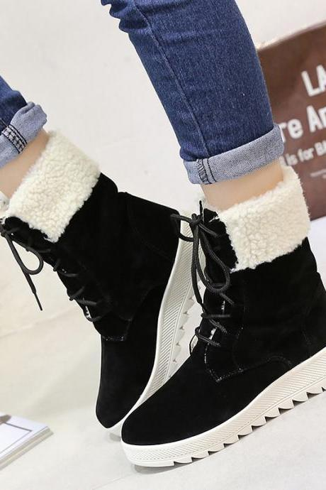 Suede Pure color Lace-Up Slope Heel Round Toe Boots