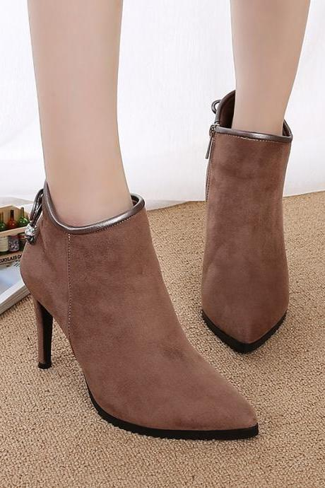 Suede Pure Color Stiletto Heel Pionted Toe Zippe High Heels
