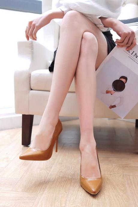 Brown Patent Leather Pointed-Toe High Heel Stilettos