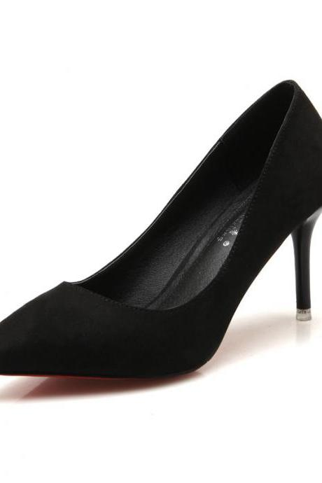 Faux Suede Pointed Toe High Heel Pumps