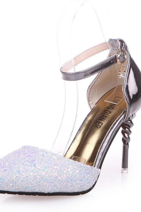 PU Rhinestone Stiletto Heel Pointed Toe High Heel Sandals