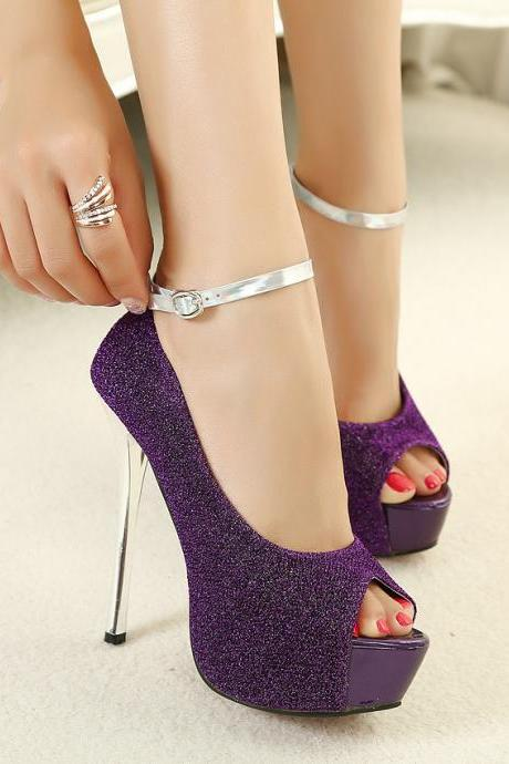 Pure Color Scrub Stiletto Heel Peep-toe Ankel Strap High Heels