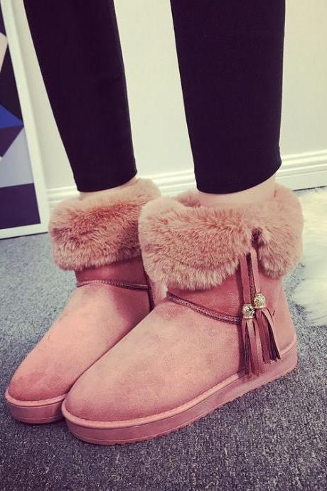 Pure Color Tassel Suede Flat Round Toe Short Boots