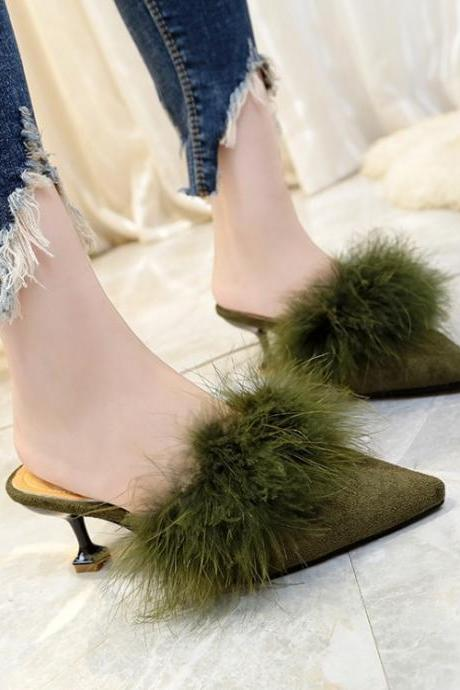 Pointed Toe Suede Slip-On Low Slender Heel With Faux Fur