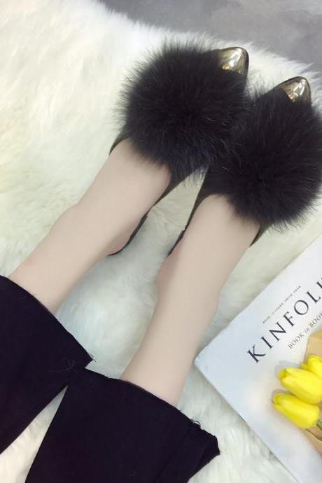 Pointed Toe Sandals with Faux Fur