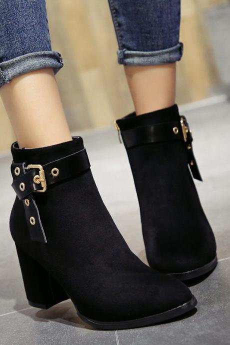 Pure Color Scrub PU Chunky Heel Round Toe Zipper Short Boots