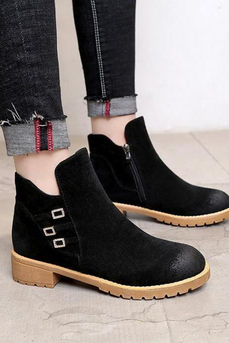 Chunky Heel Pure Color PU Round Toe Short Boots