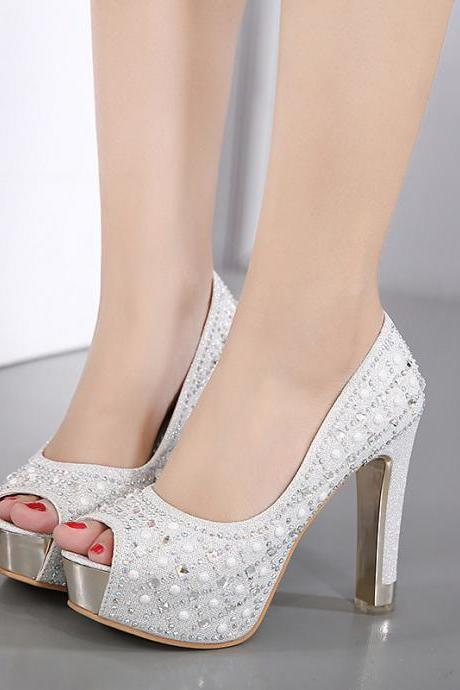 PU Pure color Rhinestone Chunky Heel Peep Toe High Heels