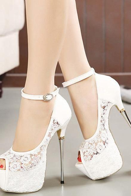 White Peep Toe Ultra Thin Stiletto Lace Pumps with Ankle Strap