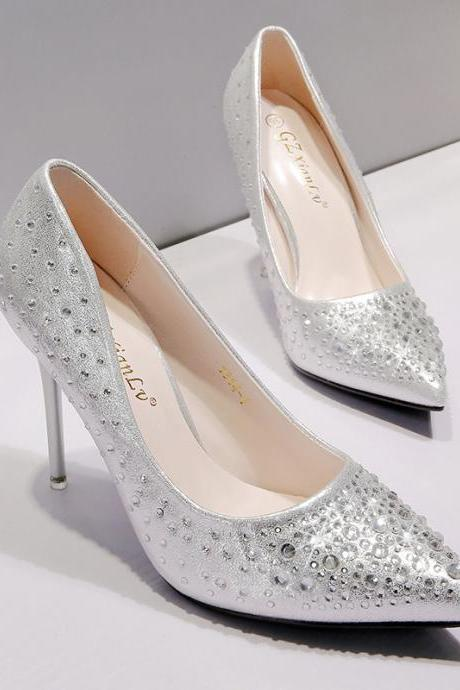 Silver Pointed Toe High Heel Pumps with Rhinestone Beading, Bridal Heels