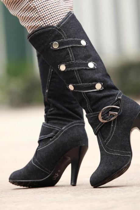 Cotton Cloth Stiletto Heel Pure Color Round Toe Long Boots